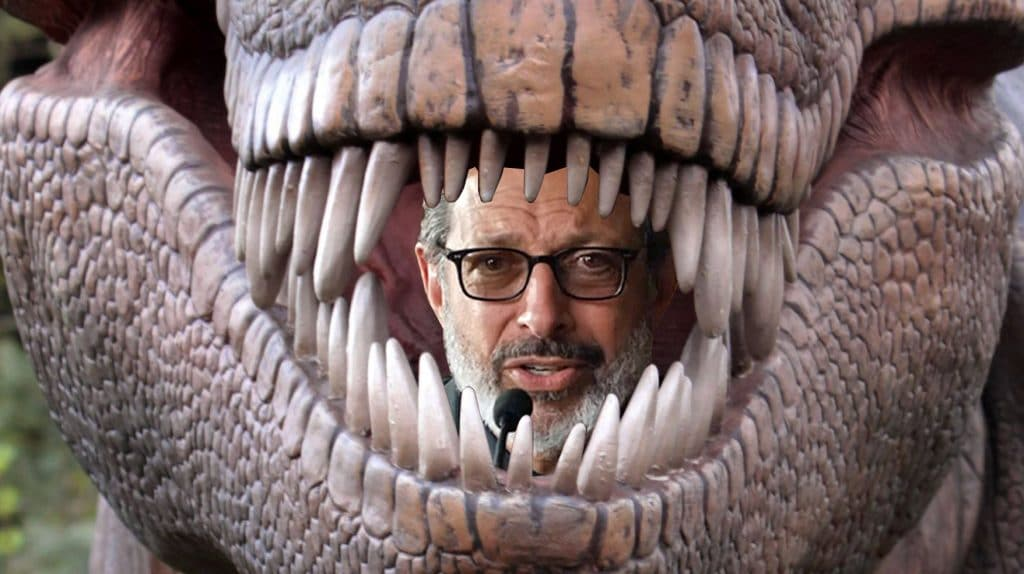 Jeff Goldblum as Ian Malcolm peering from the maw of a large theropod